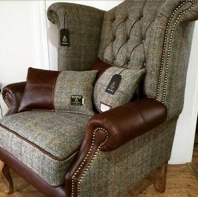 Leather Amp Harris Tweed Chesterfield Wingback Armchair 163