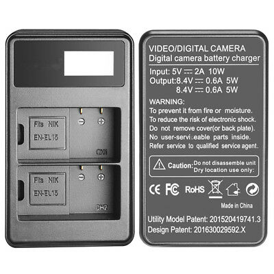 For Nikon EN-EL15 Battery USB Dual Battery Charger With LED Display