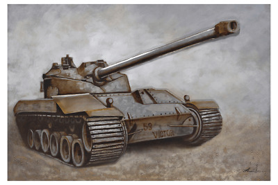 3D Oil Painting Art Military Tank Aiming Canvas Framed