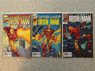 Iron Man #1, #2, & #3 - 3 Comic Lot (Vol 3, Marvel Comics, 1998)