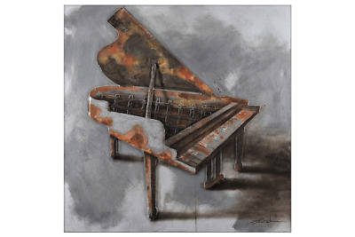 3D Oil Painting Art Piano Rust Grey Background Canvas