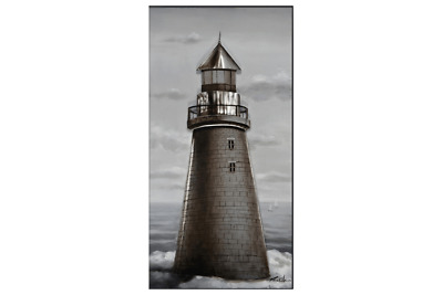 3D Oil Painting Art Lighthouse Grey Sky Canvas Framed
