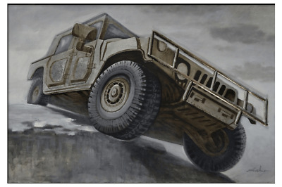 3D Oil Painting Art Brown Jeep Four Wheel Drive Mountain Driving Canvas