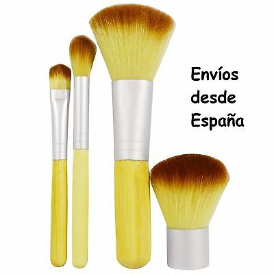 Set de 4 brochas de maquillaje (bambú y nailon) con estuche - Makeup brushes Set
