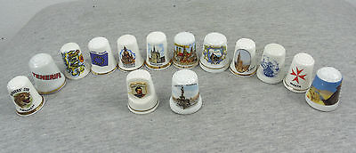 LOT of 14 VINTAGE OLD PORCELAIN DIFFERENT TYPES MIXED SEWING THIMBLES #