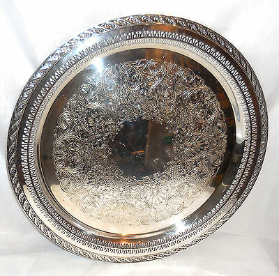 Wm Rogers & Son Silver Plate Round Tray #2072 Spring Flowers 15 1/4""