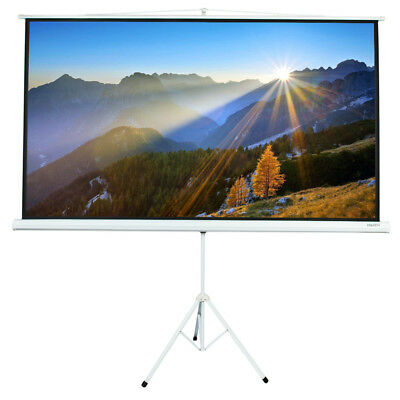 "100"" Tripod Portable Projector Projection Screen 16:9 Matte White Foldable Stand"
