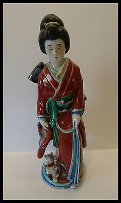 Lovely Old Meiji Japanese Imari/arita/kutani Geisha And Kitten Figure Group