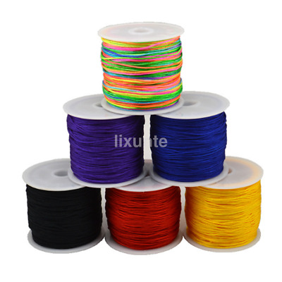 0.8mm Nylon Cord Thread Chinese Knot Macrame Rattail Bracelet Braided String CA