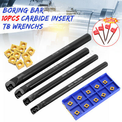 4Pcs 7/8/10/12mm SCLCR06 Lathe Boring Bar Turning Tool Set+10x CCMT21.5 Inserts