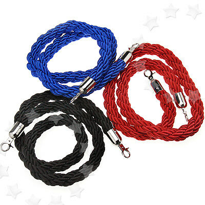 1.5M Red/Blue/Black Queue Barrier Twisted Rope Divider Crowd Control Stanchion