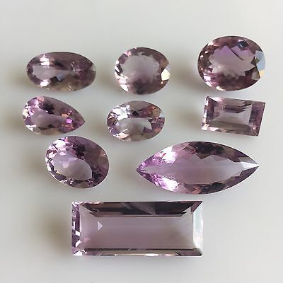 76 Ct 9Pc Natural Amethyst Loose Gemstone Purple Mix Cut Lot Free Size Wholesale