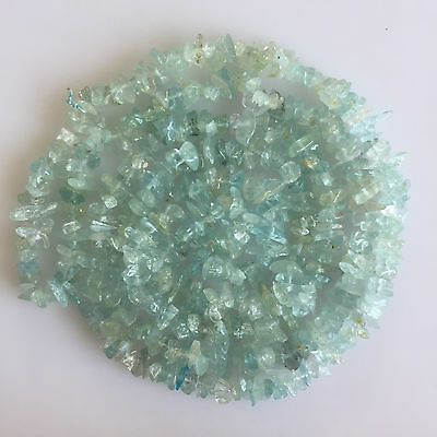 Natural Aquamarine Gems Uncut Chips Beads Freeform Loose 33 Inch Drilled String