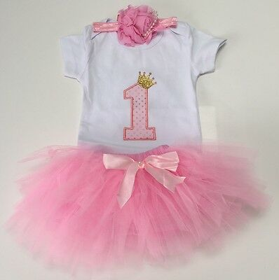 Baby Girls First 1st Birthday Outfit Tutu Skirt Top & Headband Cake Smash Party