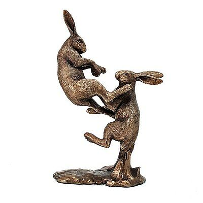 Reflections Bronzed Pair Hares Sitting Leonardo Collection lp44095 Ornament