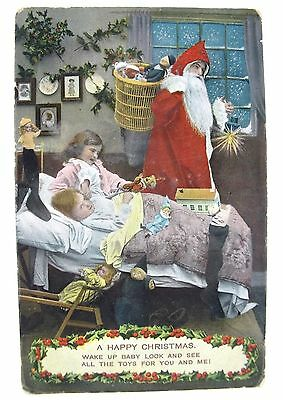 1910 Father Christmas Xmas Postcard Antique Toys Puppets Doll's House Santa Etc