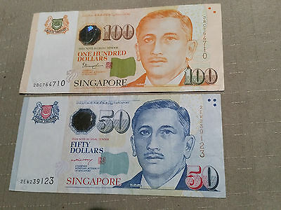 Singapore 100 and 50 dollar notes circulated