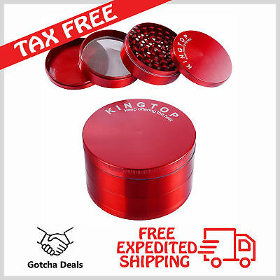 "Kingtop Metal Herb Spice Grinder Large 3"" Red Tobacco Large Hand Crusher New"