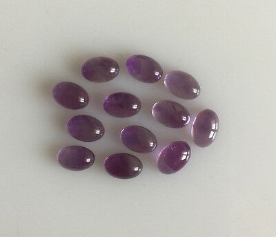 6.43 Ct 12Pc Natural Amethyst Loose Gemstones Purple Oval Cabochons Lot 6 X 4Mm