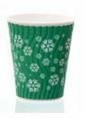 Snowflake Double Walled Hot Cup with Lid 12oz Pack of 10