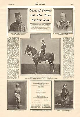 1901 Antique Print - Boer War - General Trotter And His Four Soldier Sons