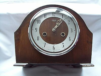 Vintage Chiming Mantle Clock By Bravingtons Of London