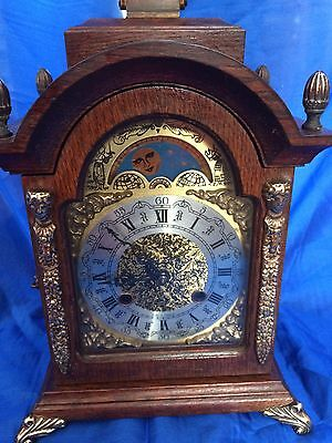 Franz Hermle Antique Chiming Keep 8 Day Movement Clock With Moving Moon Phase