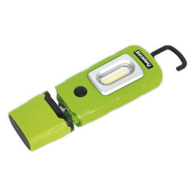 Sealey LED3601G Rechargeable Inspection Lamp 2W COB+1W LED Green Lithium-Polymer