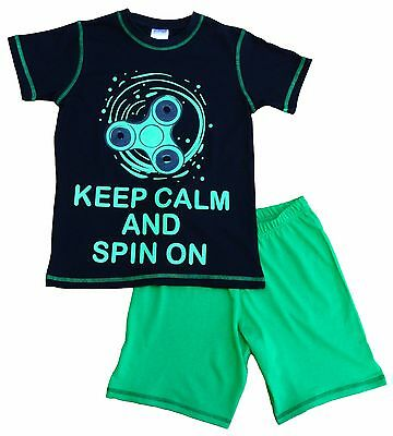 Glow In The Dark Keep Calm and SPIN On SHORT Pyjamas 7 to 12 Years