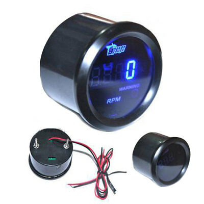 "Universal 2"" 52MM Digital Blue LED RPM Meter Tachometer Tacho Gauge Auto Motor"