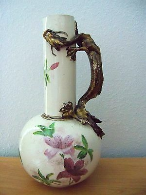 Royal Doulton TALL SLATER VASE / EWER WITH DRAGON HANDLE PINK FLOWERS 1880-90s