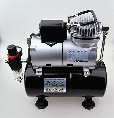 Air Compressor with 3 Liter Tank for Airbrush + 2 x 10ft Hoses, holder, spliter