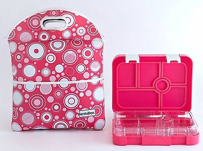 NEW Bentobox Lunch Box Kids Bento Container Thermos Insulated Sleeve Pink Bubble