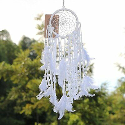 Dream Catcher Ornaments Handmade Traditional White Feather Wall Hanging Car Home