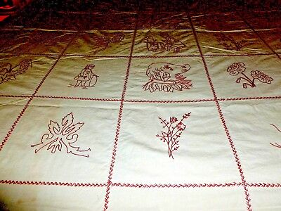 ANTIQUES  quilt top red and white made and sign 1888 daugther of rebecca