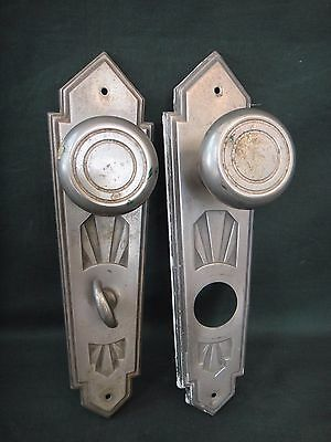 Antique Art Deco Door Hardware - 2 Knobs & 2 Back Plates