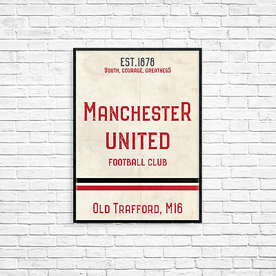 Old Trafford Man United FC White A3 Picture Art Poster Retro Vintage Style Print