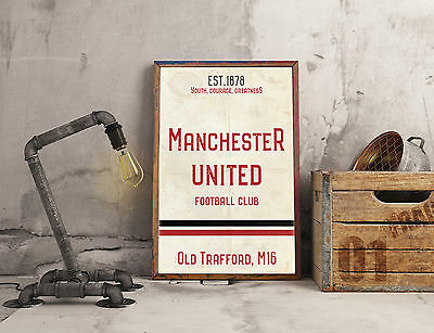 Old Trafford Man United FC White A4 Picture Art Poster Retro Vintage Style Print