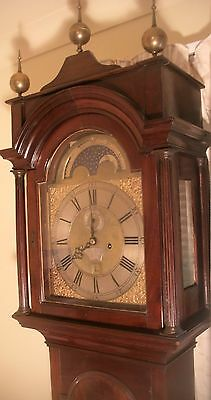 Antique London Mahogany Brass Moon Dial Longcase / Grandfather Clock