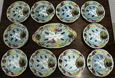 Superb Set Of 12 Antique French Majolica Asparagus Plates With Matching Platter