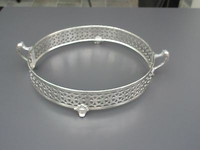 "Antique 1900s : Silver Plated Footed Round Serving Dish Insert Stand 9""- 9"" ½ w"