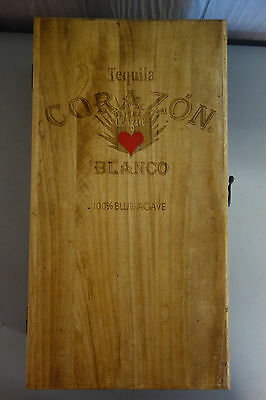 Corazon Blanco Tequila Wooden Gift Box Chest W/Four Shot Glasses & Empty Bottle