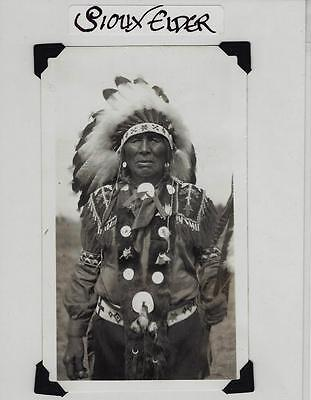 Vintage Sioux Indian Original Photograph Elder Headress Native American