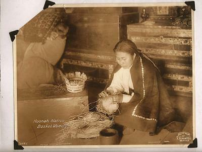 Vintage Native American Photograph Hoonah Basket Weaver Alaska Indian FH Nowell