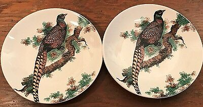 Noble Excellence Pheasant 2 Accent Salad Plates Bird White Coupe Stoneware New