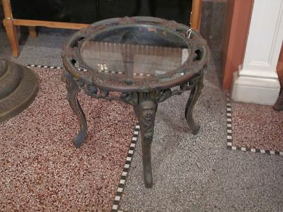 Antique 19th Century FRENCH Low FIGURAL Brass w/Glass Occasional Side Table