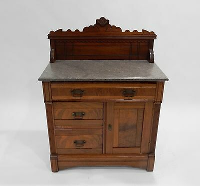 Antique Victorian Walnut marble top wash stand/ commode 30""