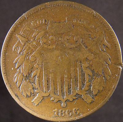 1866 US TWO CENT COIN VERY GOOD DETAILS eus-21