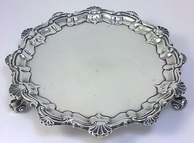 "Victorian hallmarked Sterling Silver 6 ¼"" Waiter / Card Tray  – 1899   (161g)"