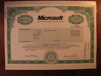 RARE Microsoft Stock Certificate(BILL GATES/MARKET/APPLE/AMAZON/NETFLIX/FACEBOOK